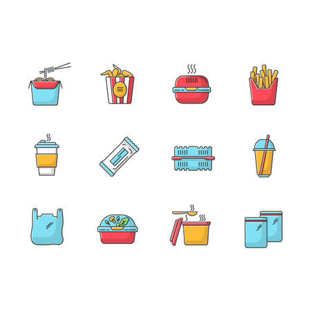 Takeaway food packages RGB color icons set. Take out meal containers, boxes for delivery, zip bag, soup pack. Noodles, bucket of chicken wings, french fries. Isolated vector illustrations