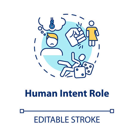 Human intent role concept icon. Injury cause, traumatism psychological factor, depression and conflict result idea thin line illustration. Vector isolated outline RGB color drawing. Editable stroke 일러스트