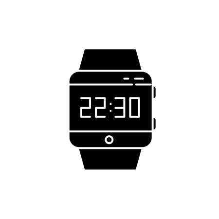 Wrist smartwatch black glyph icon. Smart watch with touchscreen display. Wristwatch. Digital clock. Wearable gadget. Fitness tracker. .Silhouette symbol on white space. Vector isolated illustration