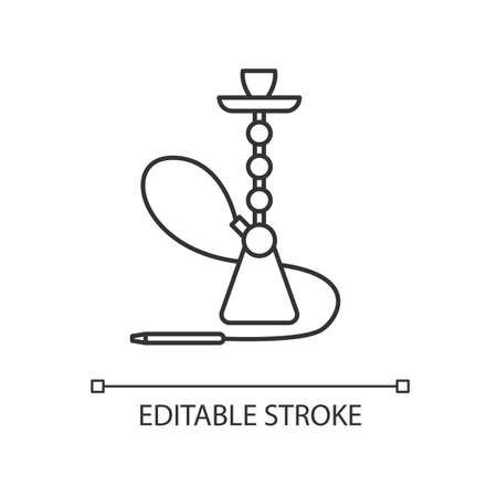 Hookah pixel perfect linear icon. Sheesha house. Cultural qalyan. Nargile lounge. Thin line customizable illustration. Contour symbol. Vector isolated outline drawing. Editable stroke