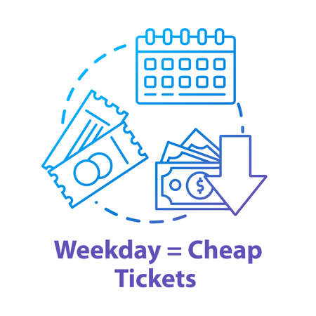 Weekday equals cheap tickets concept icon. Ordering tickets in advance. Budget tourism idea thin line illustration. Mid week travel discounts. Vector isolated outline RGB color drawing