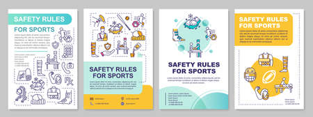 Safety rules for sport, health, proper exercise brochure template. Flyer, booklet, leaflet print, cover design with linear icons. Vector layouts for magazines, annual reports, advertising posters
