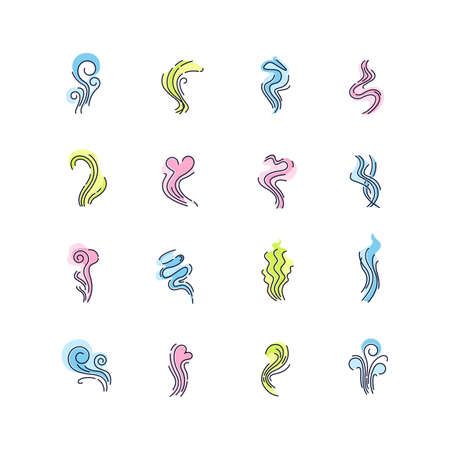 Odor RGB color icons set. Good and bad smell. Heart shape odour, fluid, perfume scent. Evaporation flow. Aromatic fragrance. Smog stream, fume swirls. Isolated vector illustrations