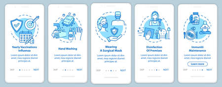 Health care onboarding mobile app page screen with concepts. Influenza, flu. Regular disinfection walkthrough 5 steps graphic instructions. UI vector template with RGB color illustrations Illustration