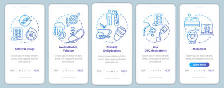 Avoid bad habits onboarding mobile app page screen with concepts. Medication, drugs. Influenza prevention walkthrough 5 steps graphic instructions. UI vector template with RGB color illustrations