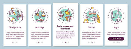 Sensory medicine onboarding mobile app page screen with concepts. Alternative healing techniques walkthrough five steps graphic instructions. UI vector template with RGB color illustrations