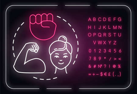 Woman power neon light concept icon. Feminist movement. Feminism. Empowerment. Gender equality idea. Outer glowing sign with alphabet, numbers and symbols. Vector isolated RGB color illustration