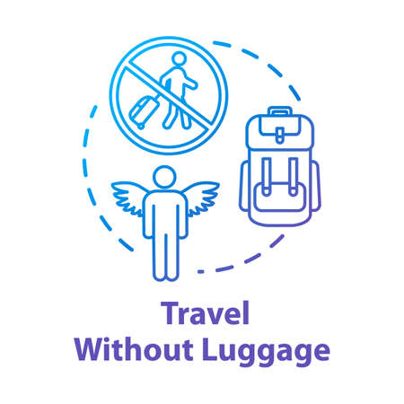 Travel without luggage concept icon. Budget tourism, no baggage fee expenses idea thin line illustration. Money saving, light trip without suitcase. Vector isolated outline RGB color drawing Ilustração