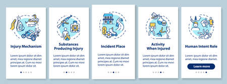Injury mechanism onboarding mobile app page screen with concepts. Incident producing substances walkthrough 5 steps graphic instructions. UI vector template with RGB color illustrations