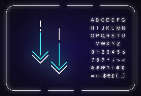Moving down arrowheads neon light icon. Scrolldown application menu interface cursor. Outer glowing effect. Sign with alphabet, numbers and symbols. Vector isolated RGB color illustration