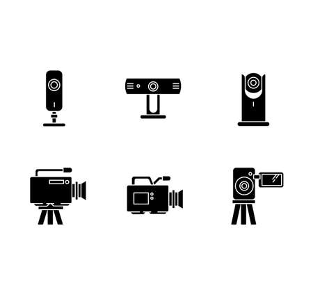 Webcams black glyph icons set on white space. Digital video cameras. Online chatting, conference. Surveillance. Portable recording gadgets. Silhouette symbols. Vector isolated illustration