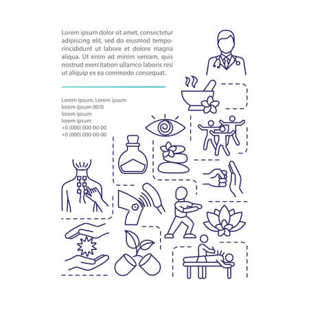 Alternative medicine technique concept icon with text. Quackery. Mind-body balance. Traditional treatment. PPT page vector template. Brochure, magazine, booklet design element with linear illustration