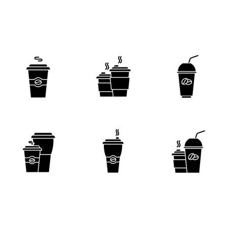 Coffee to go black glyph icons set on white space. Disposable plastic cups with caffeine drinks. Take out cold, hot beverages. Latte, cappuccino mugs. Silhouette symbols. Vector isolated illustration