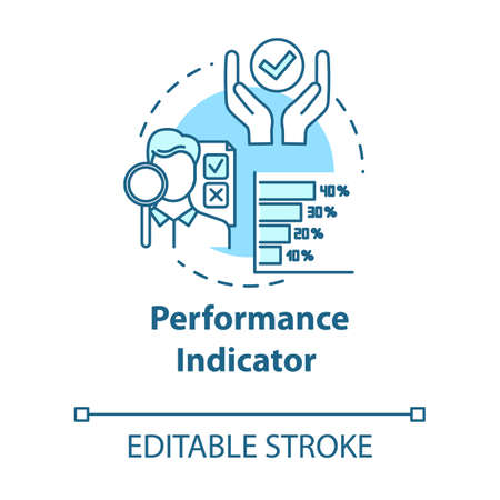 Performance indicator concept icon. Project objective. Metrics for evaluation. Corporate management idea thin line illustration. Vector isolated outline RGB color drawing. Editable stroke 矢量图像