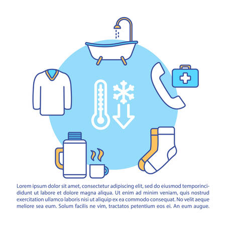 Frostbite first aid and therapy concept icon with text. Low temperature effect treatment PPT page vector template. Brochure, magazine, booklet design element with linear illustrations