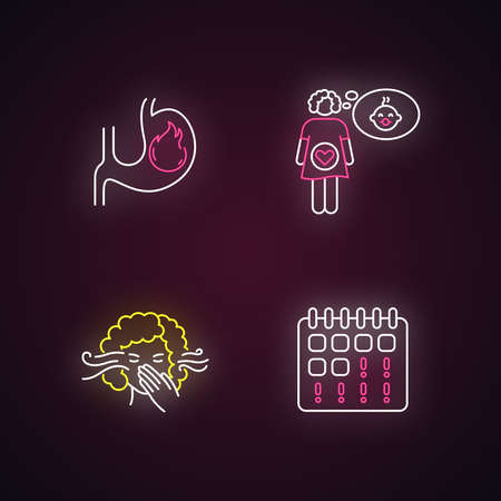 Early pregnancy symptom neon light icons set. Feeling pregnant. Smell sensitivity. Woman on period. Maternity, fertility. Signs with outer glowing effect. Vector isolated RGB color illustrations