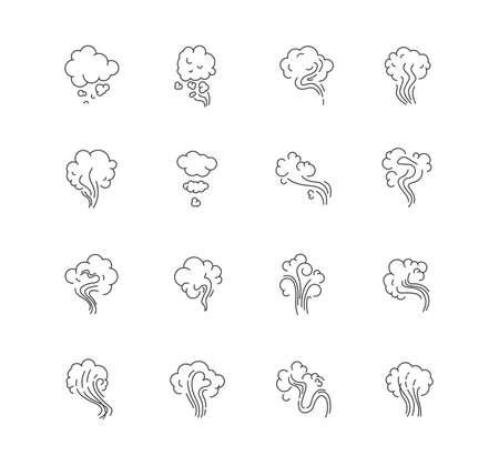 Odor pixel perfect linear icons set. Emission, evaporation. Cigarette stream. Stink, fog. Customizable thin line contour symbols. Isolated vector outline illustrations. Editable stroke