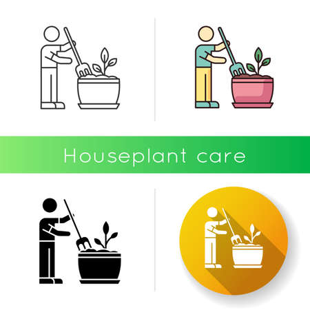Soil fluffing icon. Plowing, ploughing earth. Houseplant care. Aeration. Plant growing, planting process. Indoor gardening. Linear black and RGB color styles. Isolated vector illustrations 스톡 콘텐츠 - 140362686