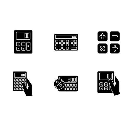 Pocket calculators black glyph icons set on white space. Mathematical calculation. Quick counting. Small electronic gadgets. Accounting. Finance. Silhouette symbols. Vector isolated illustration