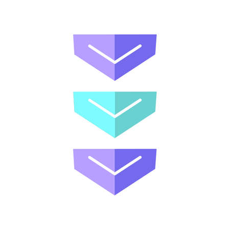 Scrolling down arrows button flat design cartoon RGB color icon. Three downward arrowheads. Downloading process indicator for web page. Scrolldown web cursor. Vector silhouette illustration