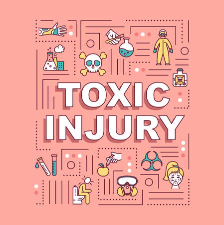 Toxic injury, poisoning and intoxication, radiation effect word concepts banner. Infographics with linear icons on pink background. Isolated typography. Vector outline RGB color illustration