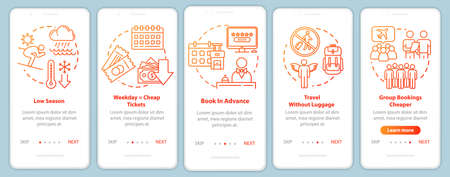 Advance reservation onboarding mobile app page screen with concepts. Frugality. Group travel. Budget tourism walkthrough five steps graphic instructions. UI vector template, RGB color illustrations