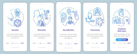 Lung disease onboarding mobile app page screen with concepts. Medical check. Otolaryngology treatment walkthrough 5 steps graphic instructions. UI vector template with RGB color illustrations