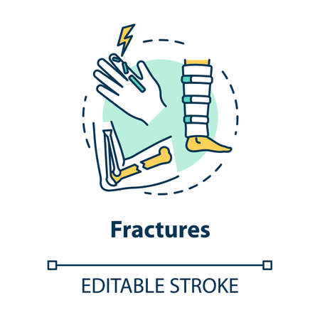 Fractures, bone and cartilage injuries concept icon. Orthopedics, traumatism, injured arm and leg, body traumas idea thin line illustration. Vector isolated outline RGB color drawing. Editable stroke