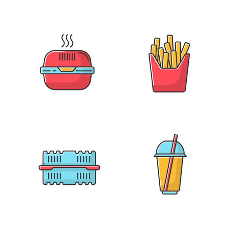 Takeaway food packages RGB color icons set. Burger cardboard box, empty plastic container, disposable cup with straw, french fries pack. Isolated vector illustrations Illustration