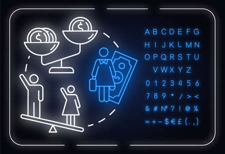 Pay inequality neon light concept icon. Compensation discrimination. Salary inequity. Gender pay gap idea. Outer glowing sign with alphabet, numbers and symbols. Vector isolated RGB color illustration