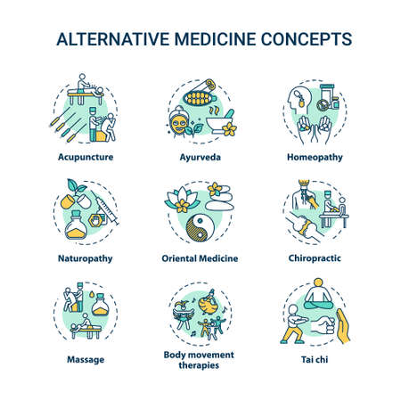 Alternative medicine concept icons set. Complementary therapies idea thin line RGB color illustrations. Physical and spiritual healing techniques. Vector isolated outline drawings. Editable stroke