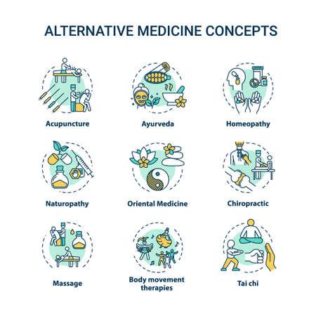 Ensemble d'icônes de concept de médecine alternative. Les thérapies complémentaires ont une idée des illustrations en couleur RVB en ligne mince. Techniques de guérison physique et spirituelle. Dessins de contour isolés de vecteur. Trait modifiable