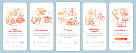 Voyage tips onboarding mobile app page screen with concepts. Charge card using. Cruise. Cheap trip walkthrough five steps graphic instructions. UI vector template with RGB color illustrations
