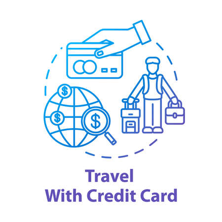 Travel with credit card concept icon. Bonus system for tourists, money saving tourism idea thin line illustration. Free mileage and baggage checks. Vector isolated outline RGB color drawing
