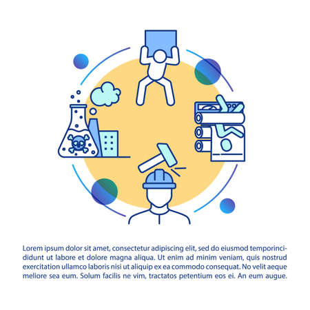 Chemical fabric traumatism concept icon with text. Industrial injuries, work accidents PPT page vector template. Brochure, magazine, booklet design element with linear illustrations
