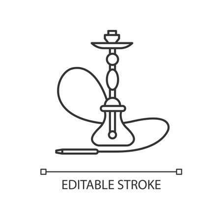 Hookah pixel perfect linear icon. Sheesha house. Assembled hooka body. Nargile lounge. Thin line customizable illustration. Contour symbol. Vector isolated outline drawing. Editable stroke
