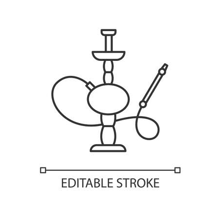 Hookah pixel perfect linear icon. Sheesha house. Traditional shisha. Nargile lounge. Thin line customizable illustration. Contour symbol. Vector isolated outline drawing. Editable stroke