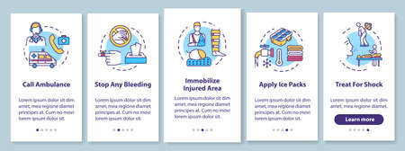 First aid, injury treatment recommendations onboarding mobile app page screen with concepts. Therapy methods walkthrough 5 steps graphic instructions. UI vector template with RGB color illustrations