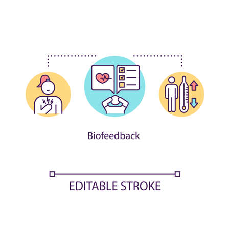 Biofeedback concept icon. Mind-body technique idea thin line illustration. Neurofeedback. Bodily functions control. Vector isolated outline RGB color drawing. Editable stroke