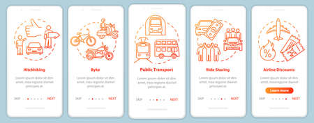 Transportation onboarding mobile app page screen with concepts. Car sharing. Frugality. Cheap tourism walkthrough five steps graphic instructions. UI vector template with RGB color illustrations