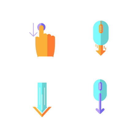 Scrolldown flat design cartoon RGB color icons set. Swipe down indicators for smartphone touchscreen. Arrows mobile app interface navigational buttons. Vector silhouette illustrations Stock fotó - 140363007