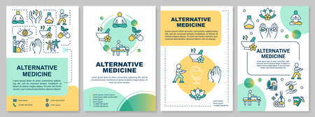 Alternative medicine brochure template. Physical and spiritual healing flyer, booklet, leaflet print, cover design with linear icons. Vector layouts for magazines, annual reports, advertising posters