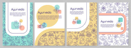 Ayurveda brochure template. Ayurvedic medicine flyer, booklet, leaflet print, cover design with linear icons. Alternative therapies. Vector layouts for magazines, annual reports, advertising posters Ilustracja