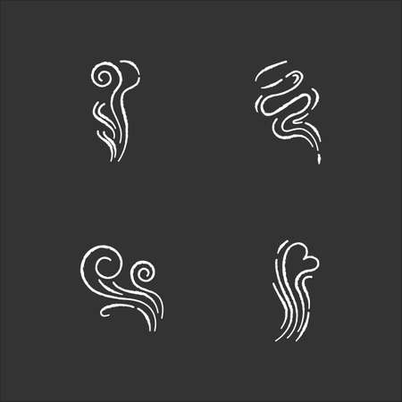 Odor chalk white icons set on black background. Good smell. Wind swirl, nice perfume scent. Aromatic fragrance flow with heart shape. Smoke puff, steam curls. Isolated vector chalkboard illustrations