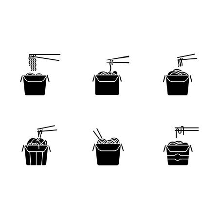 Take away noodles black glyph icons set on white space. Chinese food to go. Wok cafe packages. Cardboard boxes with takeout asian meal and chopsticks. Silhouette symbols. Vector isolated illustration