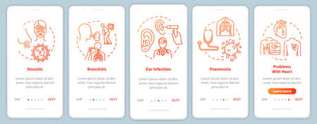 Influenza complication onboarding mobile app page screen with concepts. Stuffy nose. Flu infection walkthrough 5 steps graphic instructions. UI vector template with RGB color illustrations