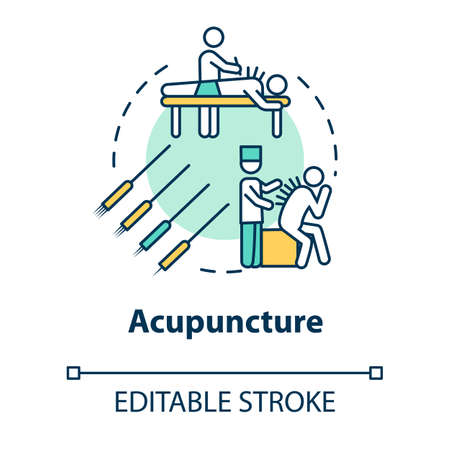 Acupuncture concept icon. Traditional chinese medicine, complementary therapy idea thin line illustration. Healing technique with needles. Vector isolated outline RGB color drawing. Editable stroke Ilustração