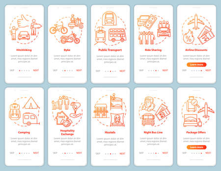 Transport and sleeping onboarding mobile app page screen with concepts. Cycling. Cheap hotel. Budget tourism walkthrough steps graphic instructions. UI vector template with RGB color illustrations