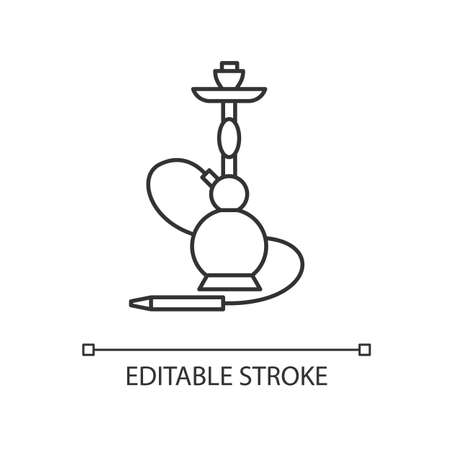 Hookah pixel perfect linear icon. Sheesha house. Egyptian relaxation. Nargile lounge. Thin line customizable illustration. Contour symbol. Vector isolated outline drawing. Editable stroke