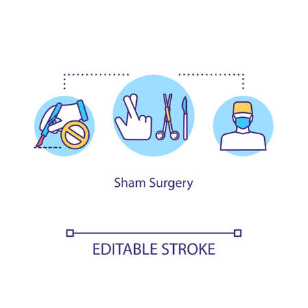Sham surgery concept icon. Placebo surgical procedure idea thin line illustration. Fake operation, intervention. Vector isolated outline RGB color drawing. Editable stroke 向量圖像